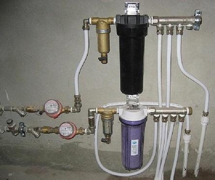 Пример подключения двух фильтров для системы водоснабжения из скважины.