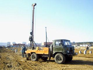 Работа буровой машина на базе автомобиля ГАЗ-66