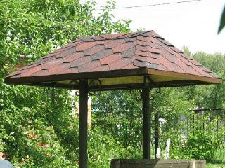 Крыша на домик колодца, покрытая мягкой черепицей