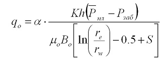 Формула Дюпюи для нефтяной скважины с нормальным режимом