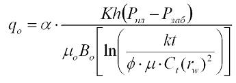 Формула Дюпюи для нефтяной скважины с неустановившимся режимом