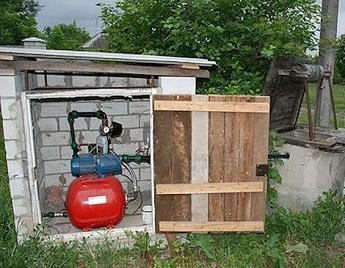Пример расположения насосной станции снаружи дома, возле колодца.