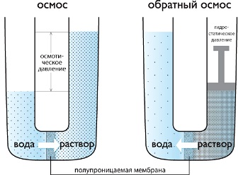Принцип действия фильтров обратного осмоса