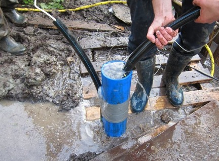 Процесс промывки скважины с помощью насоса