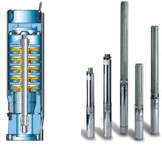 Пример конструкции погружных центробежных насосов