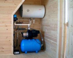 Насосная станция в доме, с подключенным водонагревателем