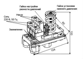 Пример конструкции стандартного насосного реле давления