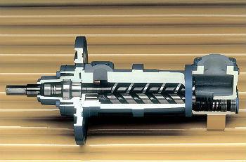 Схема конструкции винтового насоса с двумя шнеками