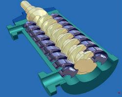 Схематическое изображение винтового насоса для скважины