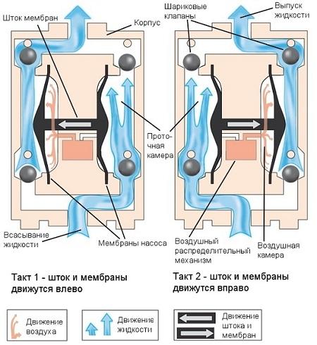 Внутреннее устройство двухмембранного насоса и его рабочие такты