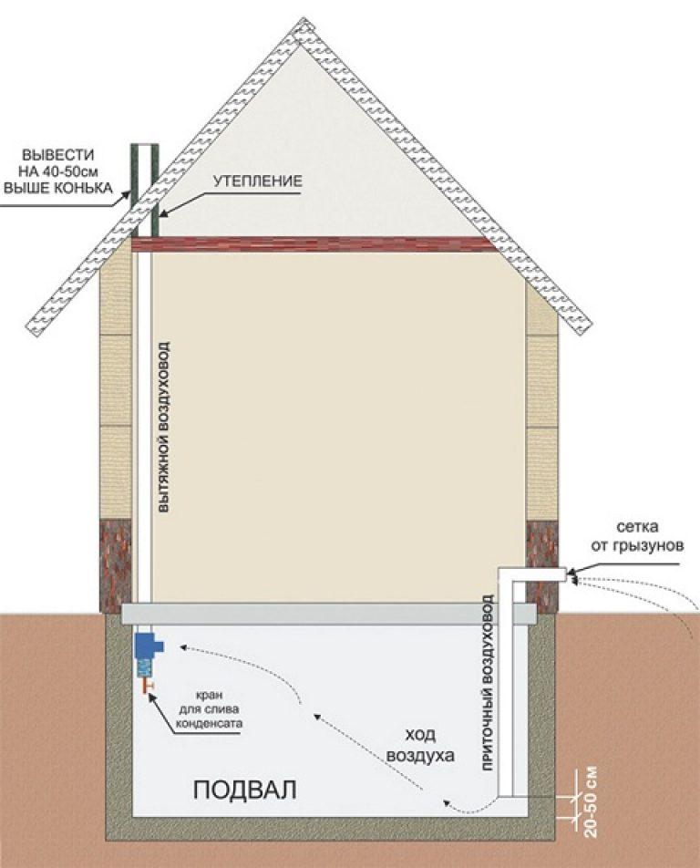 Как сделать вытяжки в подвальных помещениях