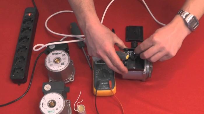 Тестирование электрических узлов циркуляционного насоса