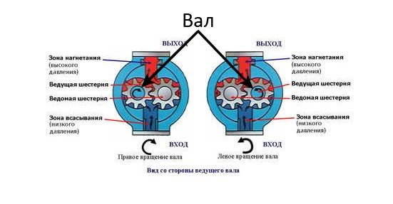 Схема определения направления вращения насоса НШ-100А