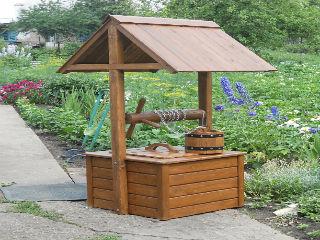 Колодец декоративный, деревянный, садовый