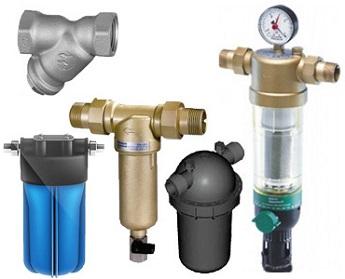 Виды фильтров грубой очистки воды различных типов.