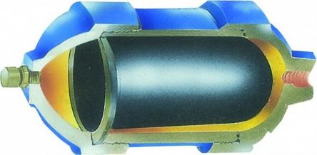 Гидроаккумулятор в разрезе - расположение мембраны внутри бака.