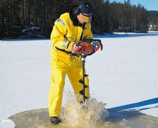 Использование мотобура на зимней рыбалке