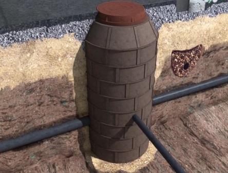 Колодец из полимерпесчаных колец в земле