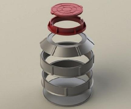 Последовательность сборки колодца из полимерпесчаных колец