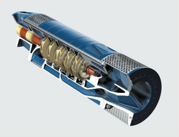 Схематическое изображение внутренностей многоступенчатого погружного насоса, центробежного типа