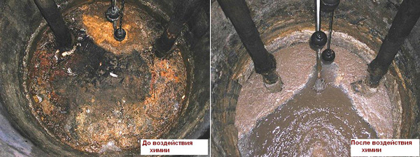 Результат использования химии для очистки выгребных ям