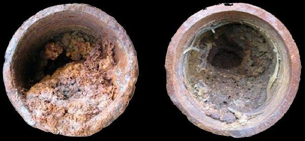 Забитый отложениями участок обсадной трубы