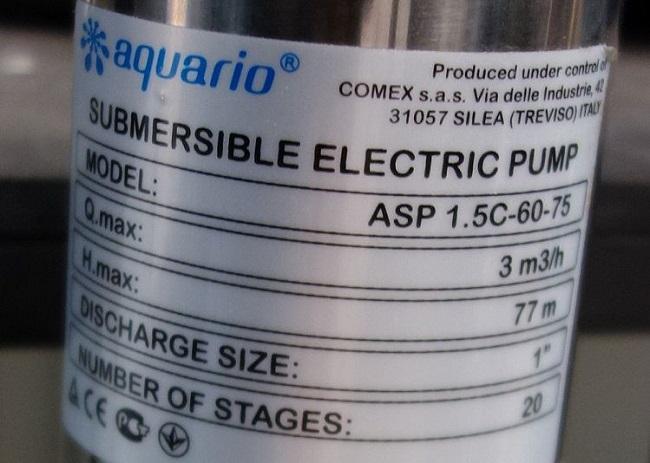 Технические характеристики насоса Aquario ASP 1.5C-60-75