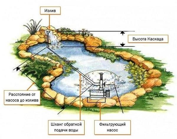 Схема установки насоса для пруда