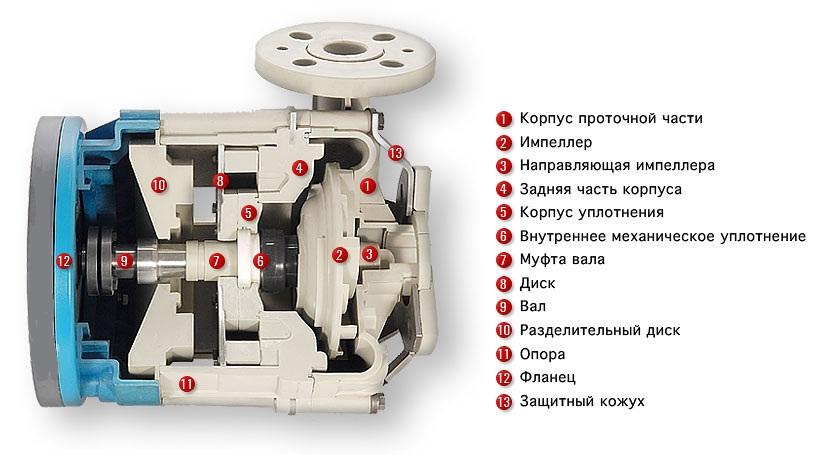 Внутреннее устройство центробежного насоса с магнитной муфтой Argal ZMR