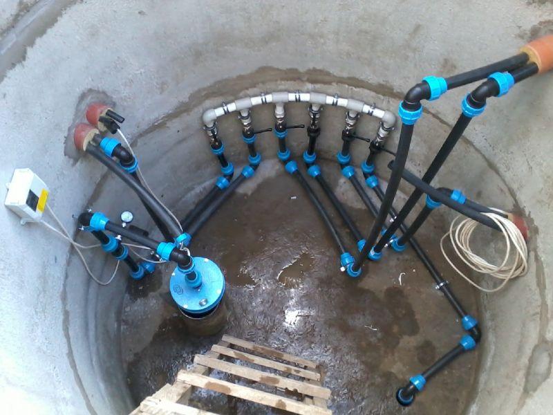 Разводка водопровода в кессоне